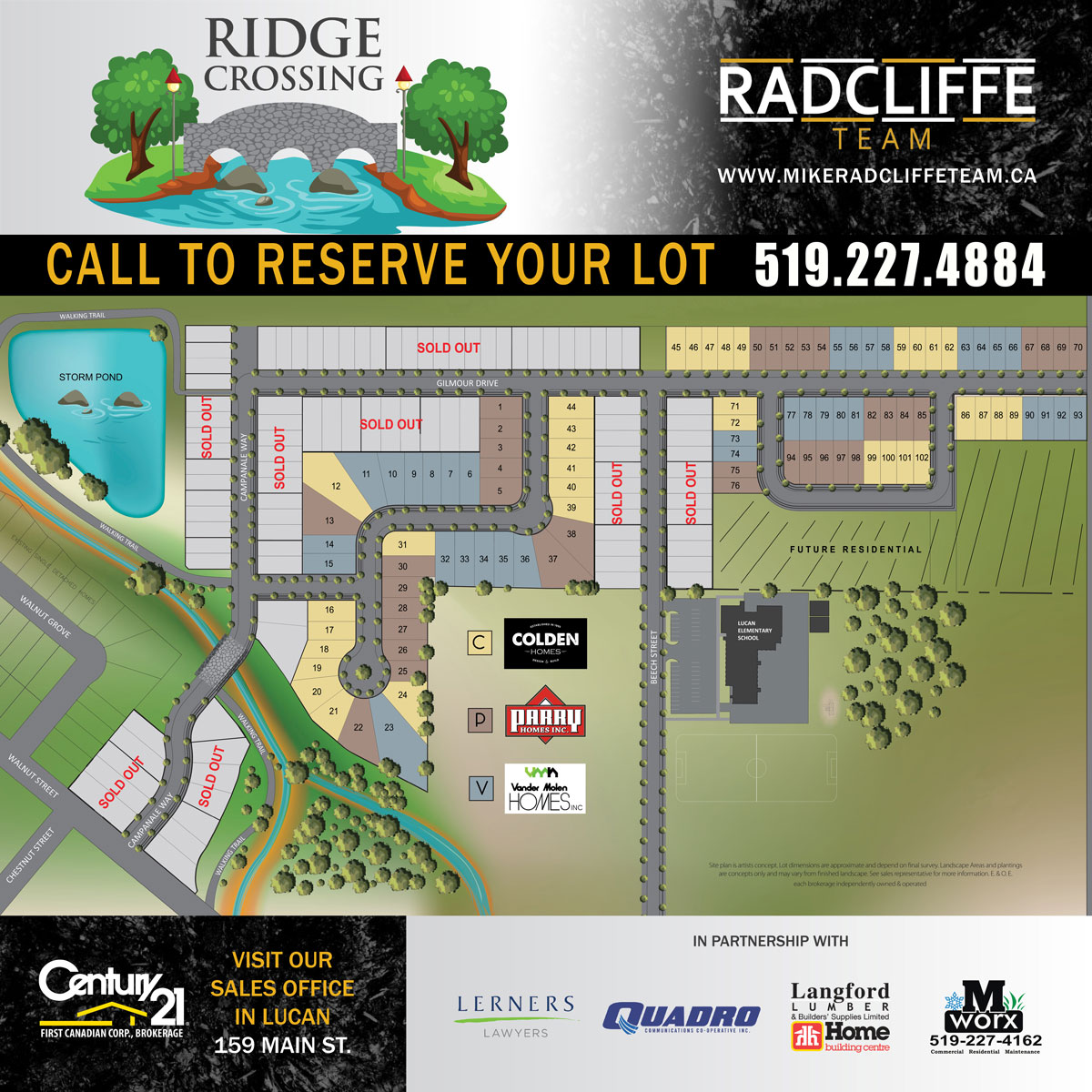 Ridge Crossing map showing available and sold lots.