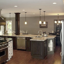 large open concept kitchen with L-shaped island