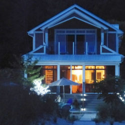 beach house, at night during the winter months