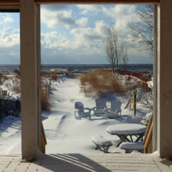 view from the deck of beach house during winter, water in the distance