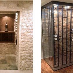stone and glass wine storage room